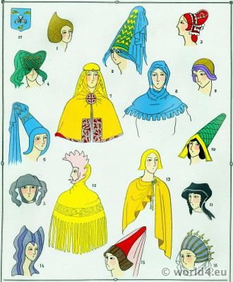 French Capuchons, Hoods. 12th century costumes, 13th century costumes, 14th century costumes. French Middle Ages costumes.