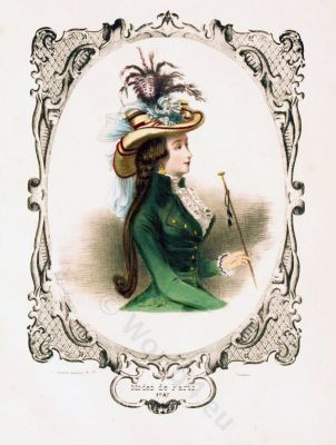 Caraco a la anglaise. Rococo costumes. Modes de Paris.18th century fashion.