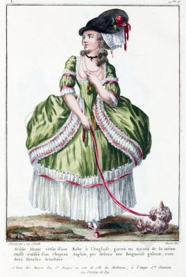 Robe a l'Anglaise 1783. French Rococo costume. Hairstyle Hoop skirt. 18th century clothing