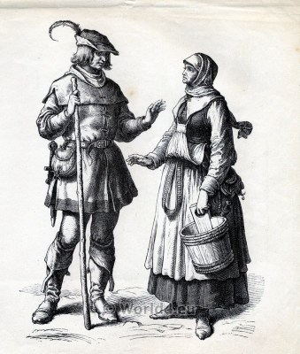 german peasant costume. Renaissance clothing. 16th century costumes. Medieval Fashion.
