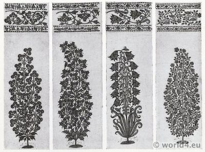 Plant Drawings. India Cotton Printer. Pattern Book. Traditional Indian fabrics. Textil design