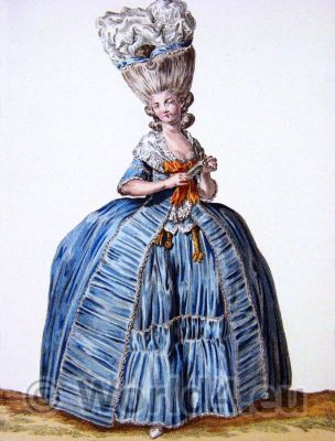 Le Pouf. French Rococo costume. Hairstyle Hoop skirt. 18th century clothing
