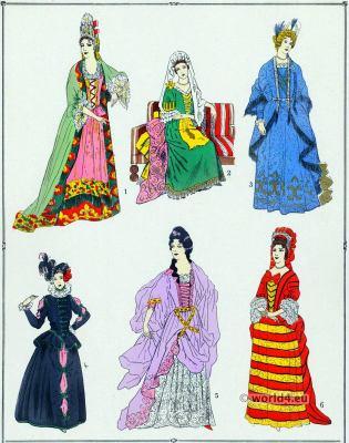 Louis XIV fashion. Robes. 17th century. Baroque fashion.