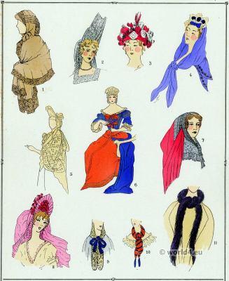 Louis XIV fashion. Coiffures, Capuchons. 17th century. Baroque fashion.