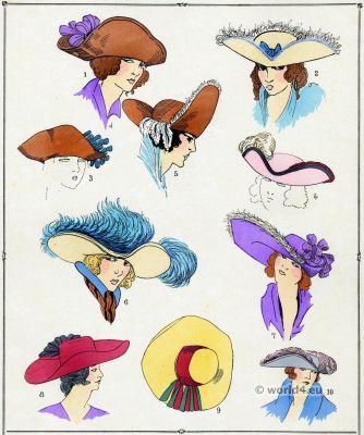 Baroque, Hats, Head dresses Louis XIV, fashion history,, 17th century, Giafferri