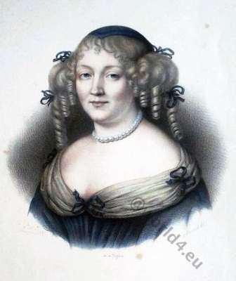 Marquise de Sévigné. Louis XIV. 17th century fashion. Baroque costumes