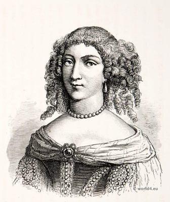 French Louis XIV Fashion. Louise de La Vallière. Hairstyle 17th century. Mistress of Louis XIV