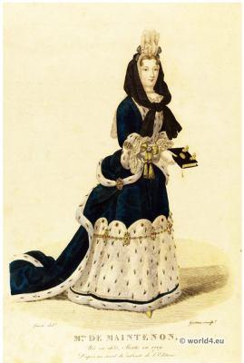 Madame de Maintenon. Mistress , Louis XIV. fashion, 17th century costumes. Baroque Court dresses