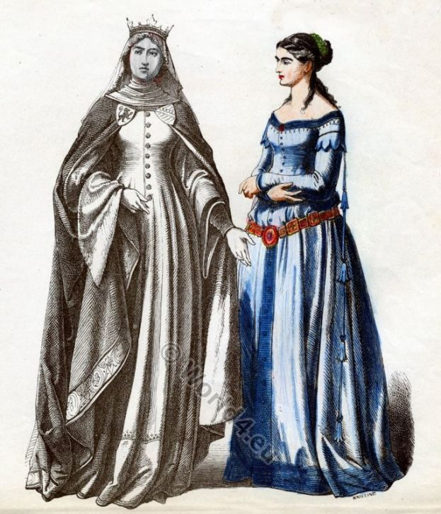Germany, princess, maid, honor, middle ages, clothing, costumes, cotehardie