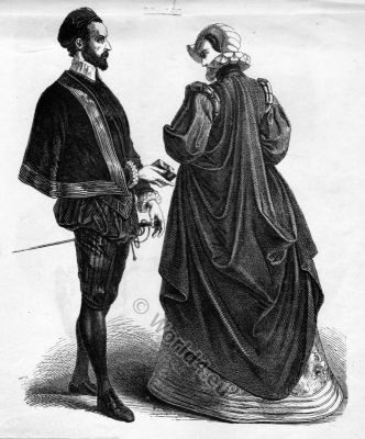 French Renaissance costumes. 16th century fashion