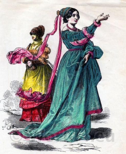 German citizens, Renaissance, costumes, 16th century clothing. Medieval dresses, Gamurra