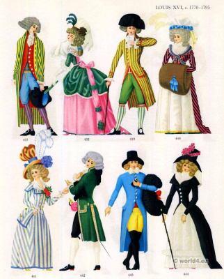 Louis XVI Fashion 1788-1789. French Rococo costumes. Court dress. Redingote. Hat à la androsmane