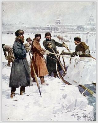 Traditional Russian costumes. Russia folk dress. Ethnic clothing. Ice-Cutting on the Neva