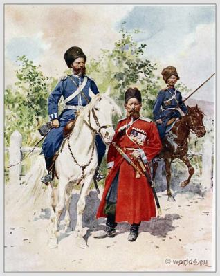Traditional Russian costumes. Russia folk dress. Ethnic clothing. Cossacks of the Guard.