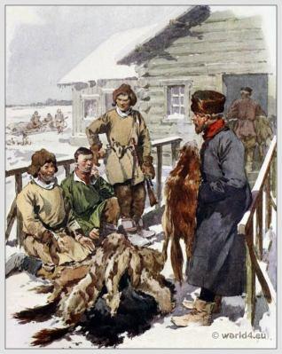 Traditional Russian costumes. Russia Merchant folk dress. Ethnic clothing.