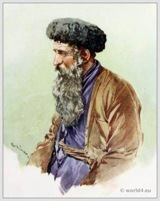 Traditional Russian costumes. Russia Jew folk dress. Ethnic clothing.