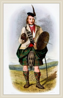 Traditional Scottish National Costume. Mac Donalds of Clan Ranald. The Clans of the Scottish Highlands. Scottish kilts, tartans.