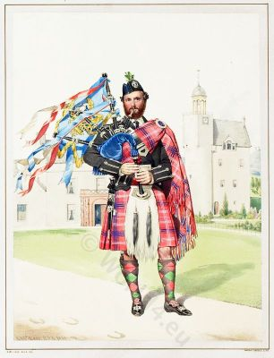 Scottish Piper William Macdonald. The Highlanders of Scotland. Traditional Scottish National Costume.