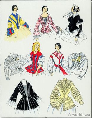 Second Empire Bodices. Victorian Fashion History. 19th century fashion. Crinoline. Second Rococo costumes.