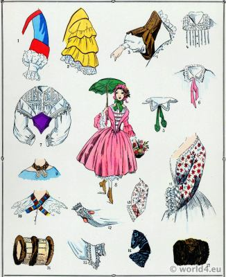 Second Empire Skirts. Victorian Fashion History. 19th century fashion. Sleeves. Second Rococo costumes.