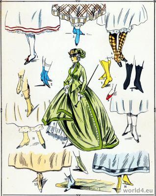Second Empire Shoes. Victorian Fashion History. 19th century fashion. Second Rococo costumes.