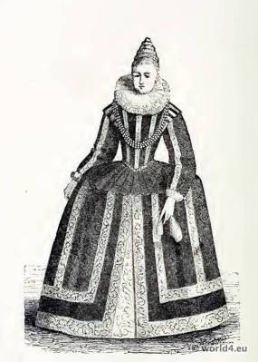 Marie de' Medici, Queen of France. 17th century fashion. Baroque Clothing. Queen of France
