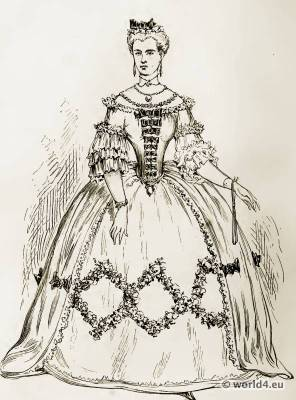 Louis XV. Costumes. French 18th century Rococo fashion. Farthingale Court dress.