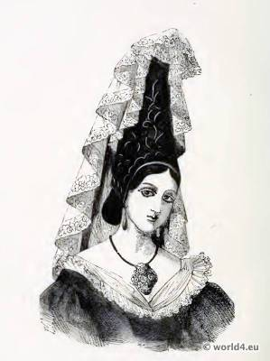French traditional national costume. Normandy Headdress. 19th century fashion.