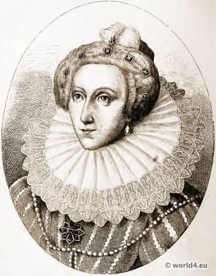 Queen Elisabeth I., 16th century costume. England Tudor Fashion. Millstone collar