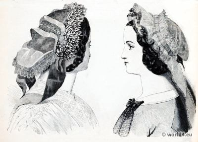 Victorian Bonnet.  French caps fashion.