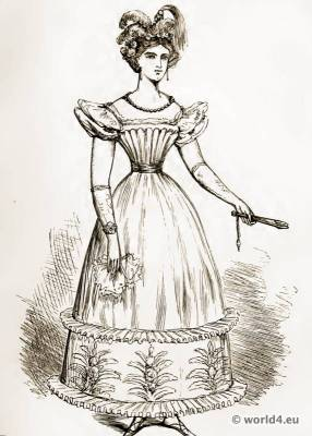 Fashionable Dress in 1824. Empire costume. Regency fashion. The corset and the crinoline.