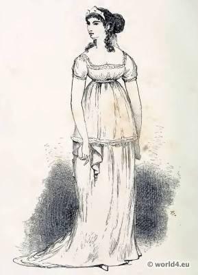 French Revolution costume. France Merveilleuse Fashion clothing