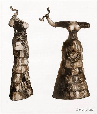 Matriarchy Female Votary. Knossos Minoan costume. Ancient Greek clothing. Antique Greece statue.