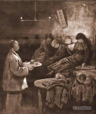New York Working Girls in an Opium Den 1883. Frank Leslie's Illustrated NewspaperNew York. Costume Belle Epoque