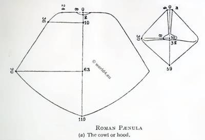 Roman Paenula Pattern. The cowl or hood. Ancient roman travelling cloak. Poncho.
