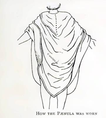How the Roman Paenula was worn. The cowl or hood. Ancient roman travelling cloak.