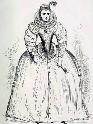 French Court of Catherine de Medici. 16th century costume. Renaissance fashion.