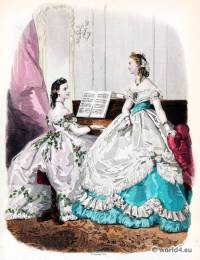French second empire fashion. Victorian crinoline costumes. La Mode Illustrée. 19th century dress.