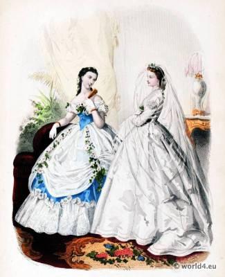 Victorian Prom Dress. Victorian Wedding Dress. La Mode Illustrée. 19th century crinoline costumes