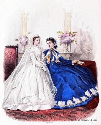 Victorian Communion Dresses. La Mode Illustrée. Victorian crinoline costumes. Second Empire Fashion.