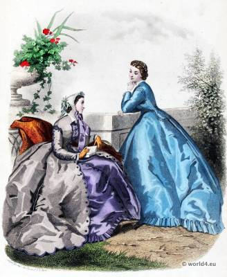 French second empire fashion. Victorian crinoline costumes. Farthingale. 19th century costume. Lace and lace making