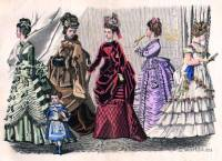 Godey's Fashions November, 1874. Victorian costumes. Crinolines. 19th century fashion.