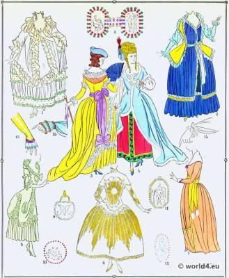 Robes. La mode Louis XVI. Costumes de rococo. 18 vêtements de siècle.