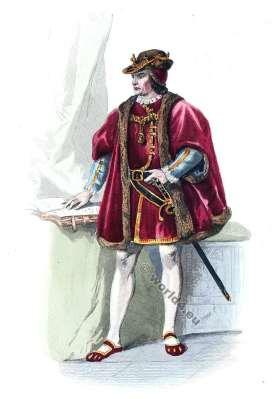 Moyen Age costume. Duc Cour de Louis XI. Mode de 15ème siècle. Costumes actuels. Musée cosmopolite