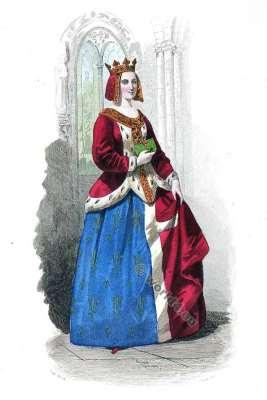 Moyen Age costume. Duchess Cour de Louis XI. Mode de 15ème siècle. Costumes actuels. Musée cosmopolite