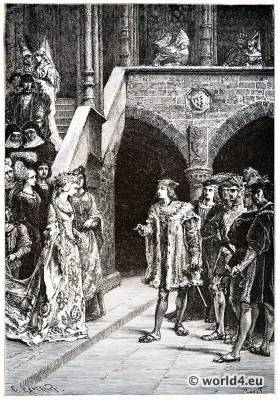 Charles VIII. Anne of Brittany. Renaissance fashion. 15th century costumes.