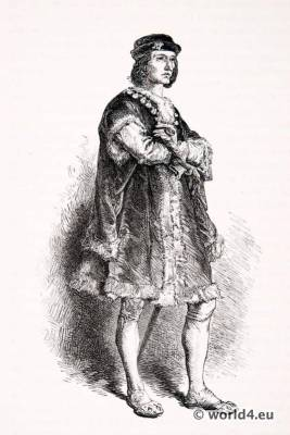 Charles VIII l'Affable or le Courtois. Renaissance fashion. 15th century costumes. Gothic fashion