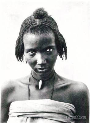 Kanembu African tribe. Traditional African Braids Hairstyle