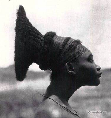 Traditional African hairstyle. Africa Zaire. Skull deformation. Mangbetu. African tribe. Mangbetu Central Africa