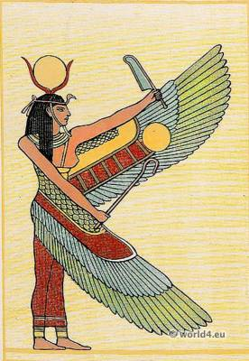 Ancient Egypt costume. Isis or Nephthys. Winged Figure.